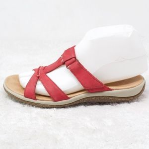 Acorn Red Leather Slide Comfort Sandals Size 6